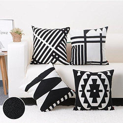 100% Cotton Embroidery Decor Throw Pillow Case Black and White Geometric Cushion Cover 4PCS/Set