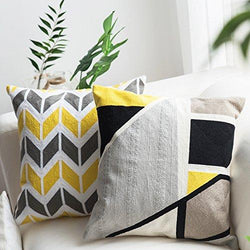 Lananas Pack of 2 Yellow Grey Decorative Square Throw Pillow Covers Set