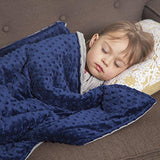 "5 lb Children's (for 50lb individual) 36""x48"" Navy Blue and Gray Weighted Blanket with Dotted Minkey Cover"