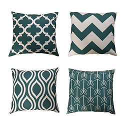 FanHomcy Teal Throw Pillow Covers Decorative Geometric Pillowcases Cotton Linen Cushion Cover for Couch Sofa Set
