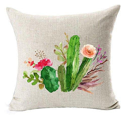 Cotton Linen Green plants Succulents Cactus Prickly Pear Square