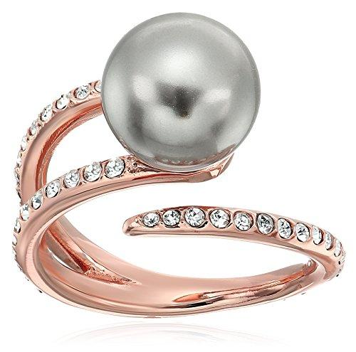 Pearl Tone Pave Crystal and Grey Pearl Open Ring