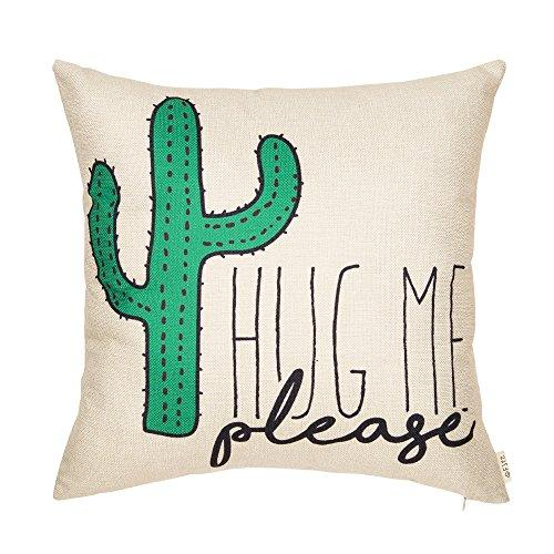 Fjfz Please Hug Me Cactus Funny Quote Cotton Linen Home Decorative Throw Pillow Case Cushion Cover with Words Sofa Couch
