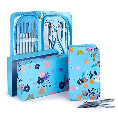 Exclusive Manicure Set & Pedicure Kit 12Pcs of Stainless Steel Manicure Pedicure Set, for Travel Home Comes With Premium Quality Floral Zipper Case grooming kit