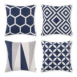 baibu Cotton Geometric Throw Pillow Embroidery Cushion Cover 18x18 inch Muticolor 4PCS