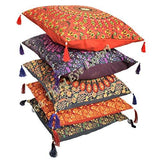 "18X18"" Indian Ethnic Bohemian Set of 5 Decorative Colorful Cotton Square For Sofa Set"