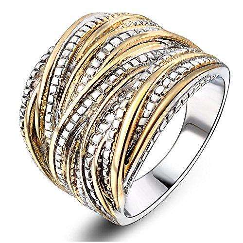 2 Tone Intertwined Crossover Statement Ring