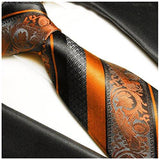 Fire Orange and Black Paul Malone Silk Tie and Pocket Square