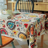 HOOYE Bohemian Style Rectangle Tablecloth Linen Lace Table Cloth for Dinner Parties Table Cover