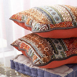 mixinni Bohemian Style Jacquard Style Cotton Linen Red Throw Pillow Cover 2 Pieces 18