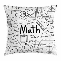 Ambesonne Mathematics Classroom Decor Throw Pillow Cushion Cover