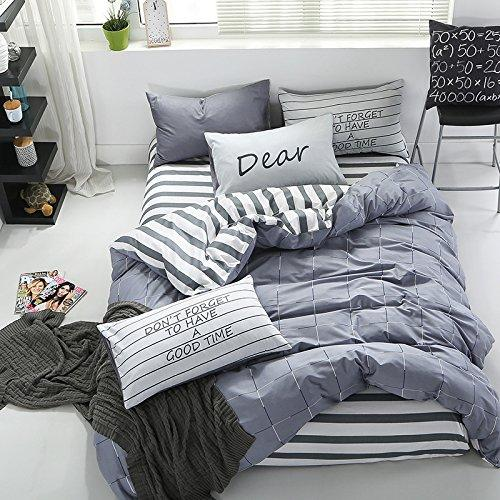 InfiniteS 3 Pieces Duvet Cover Set 100% Cotton With Stripe Pattern Printed of 1 Piece