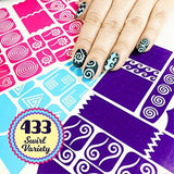 433 Nail Art Stencils Vinyl - 23 Different Swirl Shapes: Waves, Heart, Curvy, French