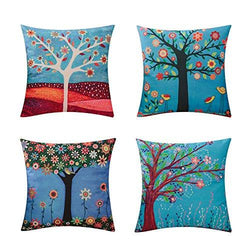 Heyhousenny Tree Decorative Throw Pillow Case Cushion Cover Pillowcase for Sofa 18 x 18 Inches Set of 4