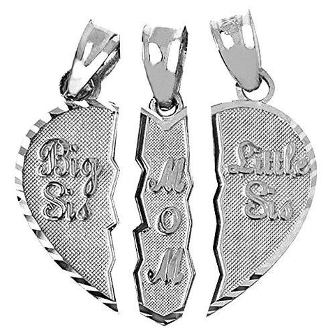 Sterling Silver 3-Piece Mom and Daughters Breakable Heart Necklace