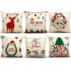 6 Packs Christmas Pillows Covers 18 X 18 Christmas Décor Santa Claus Pillow Covers