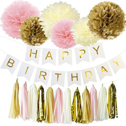 EASTERN HOPE 19Pcs Happy Birthday Decorations Banner Hanging Tissue Paper Pom Poms