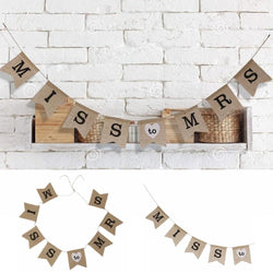 1pc Miss To Mrs Natural Burlap Banner for Wedding Party Decoration