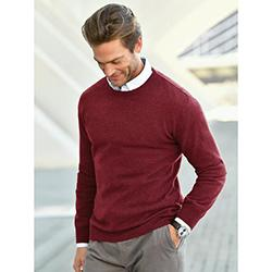 Round neck pullover in 100% new milled wool