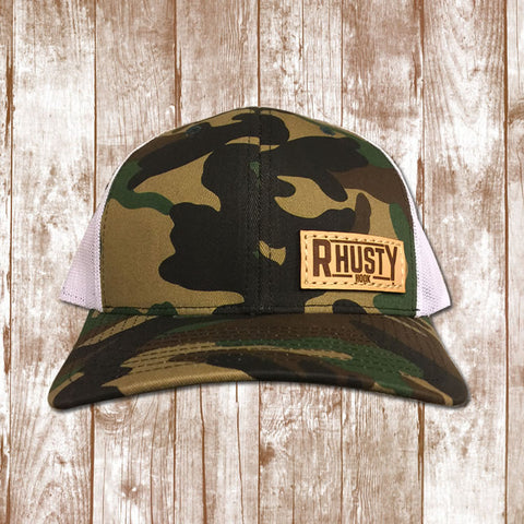 Rhusty Hook Logo Leather Patch - Camo
