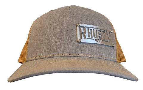Rhusty Hook Logo Badge - Heather Grey / Amber Gold