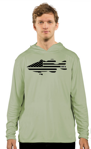 Rhusty Hook Performance Hoodie - Sage - Bass Flag