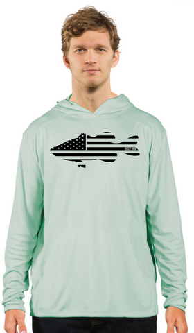 Rhusty Hook Performance Hoodie - Seagrass - Bass Flag