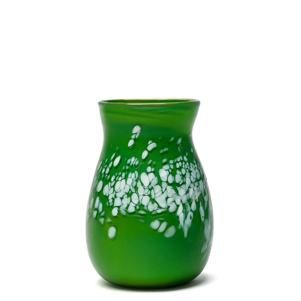 Forest Green/White Spotted Vase