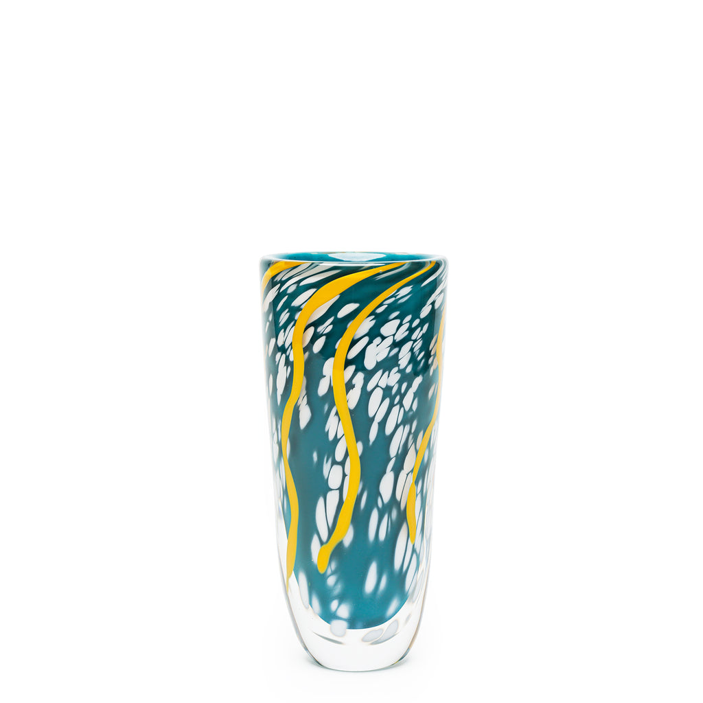 Dark Teal/Yellow/White Swirl Spotted Vase
