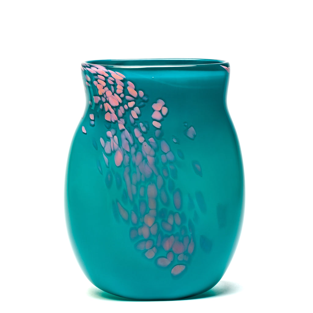 Dark Teal/Pink Spotted Vase