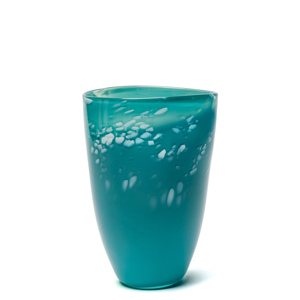 Dark Teal/White Spotted Vase