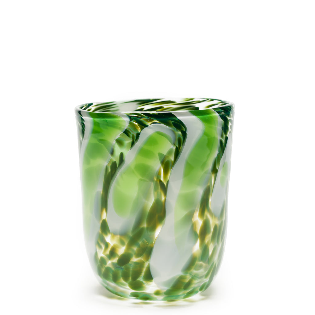 Forest Green/White/Transparent Spotted Stroke Vase