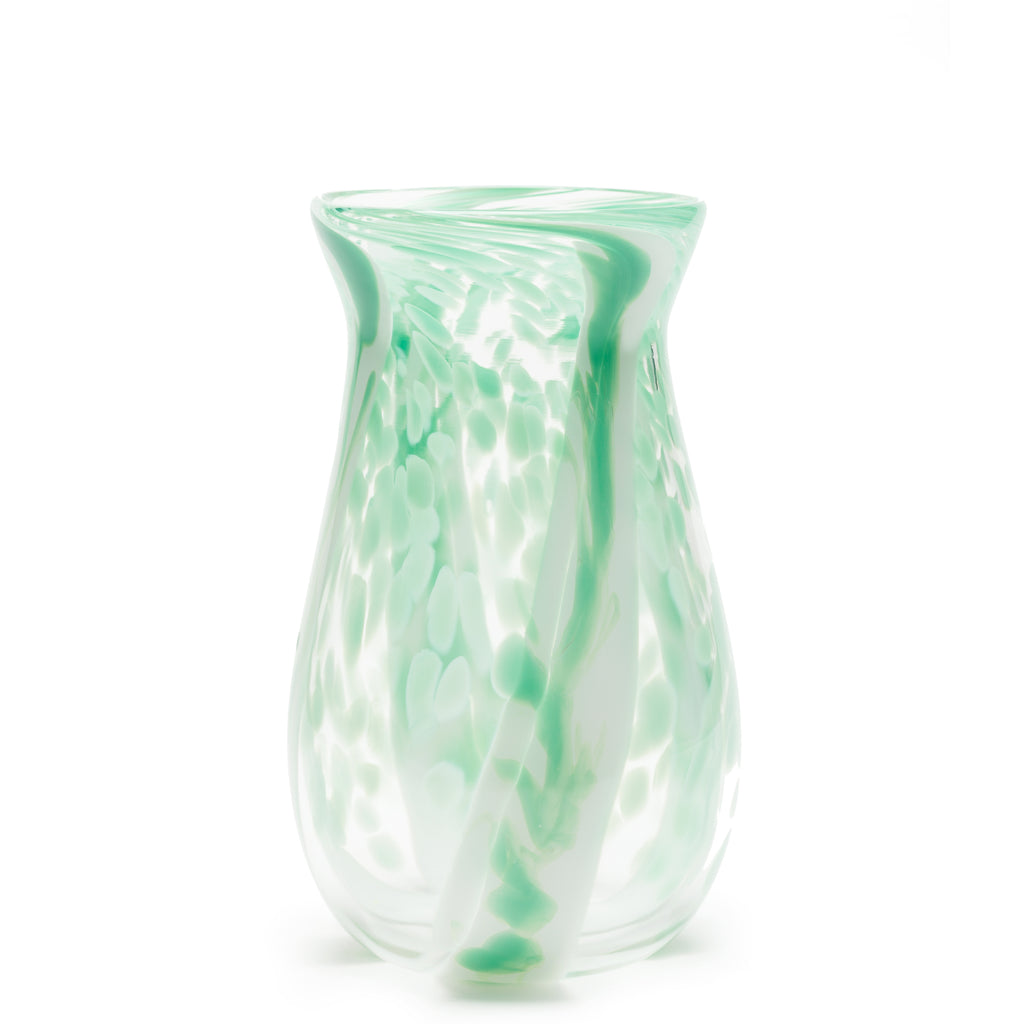Seafoam Green/White/Transparent Spotted Stroke Vase