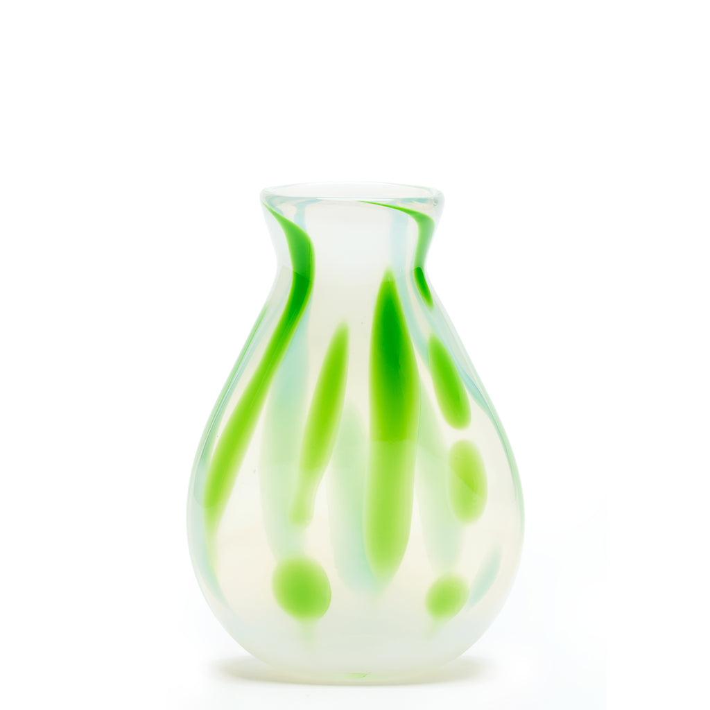 Cloudy White/Green Swirl Vase