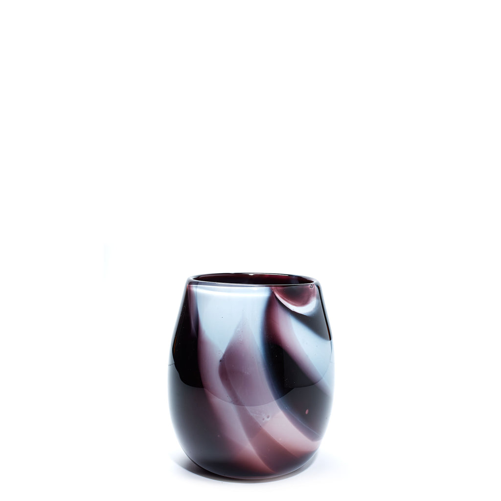 Purple/White Swirl Short Vase