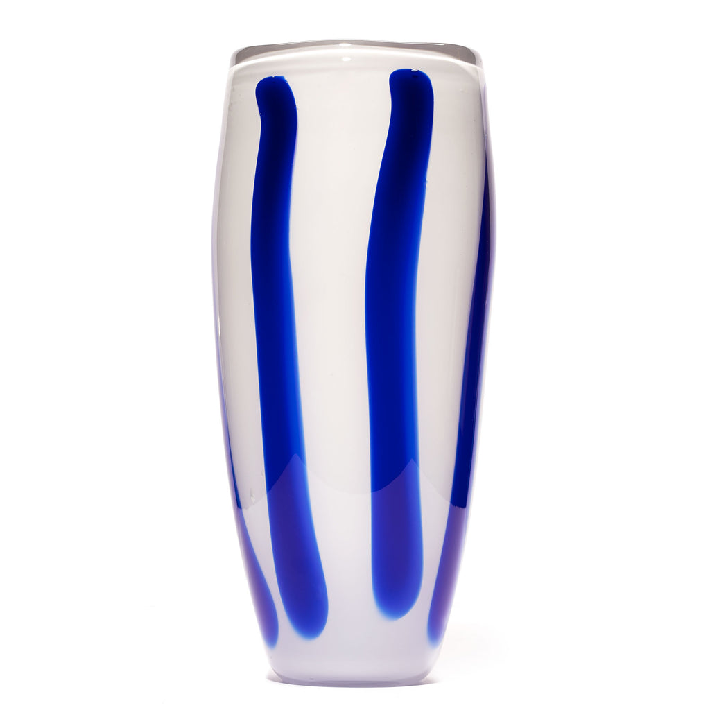 White/Blue Stripe Vase