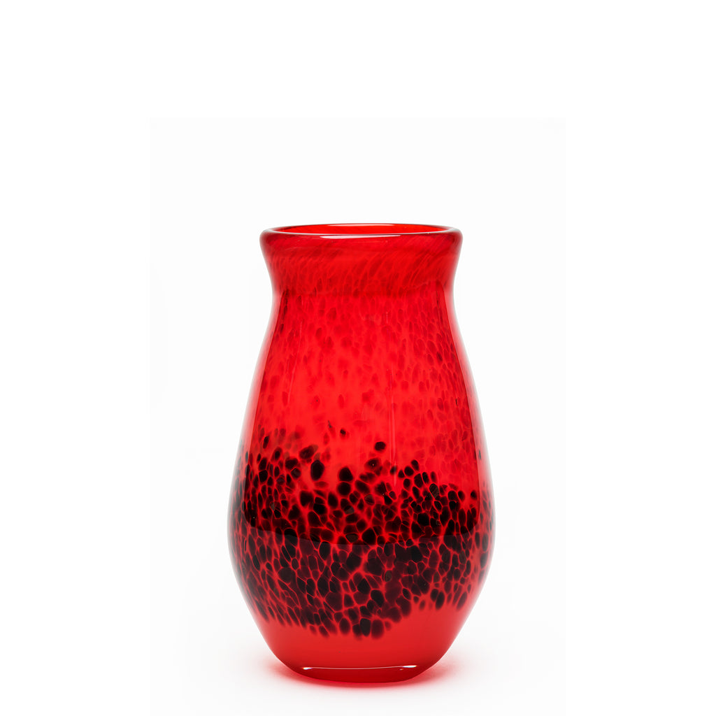 Transparent Red/Burgundy Spotted Vase