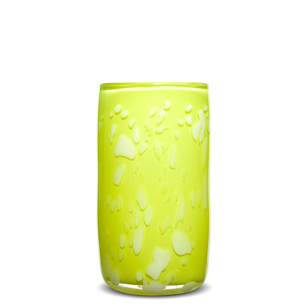 Lime/White Spotted Cylinder Vase