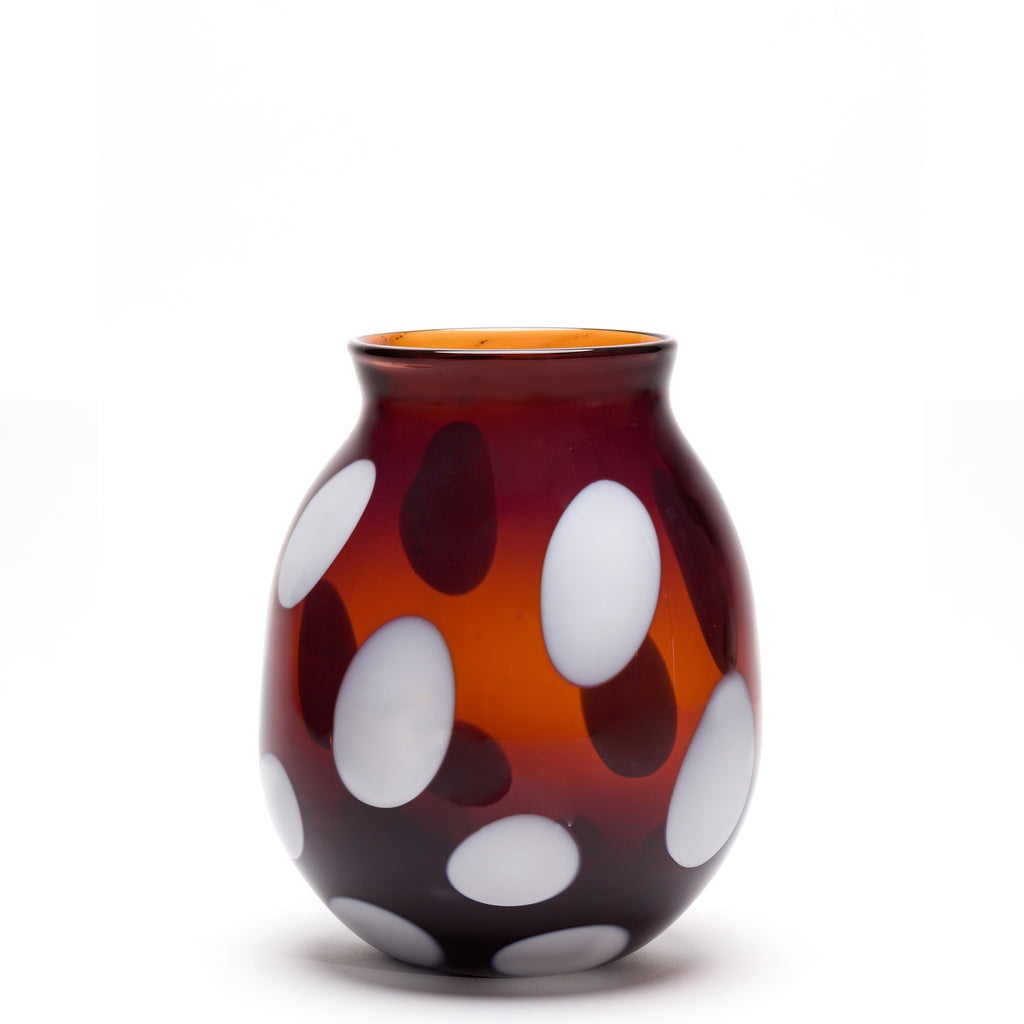 Transparent Brown/White Spotted Round Vase