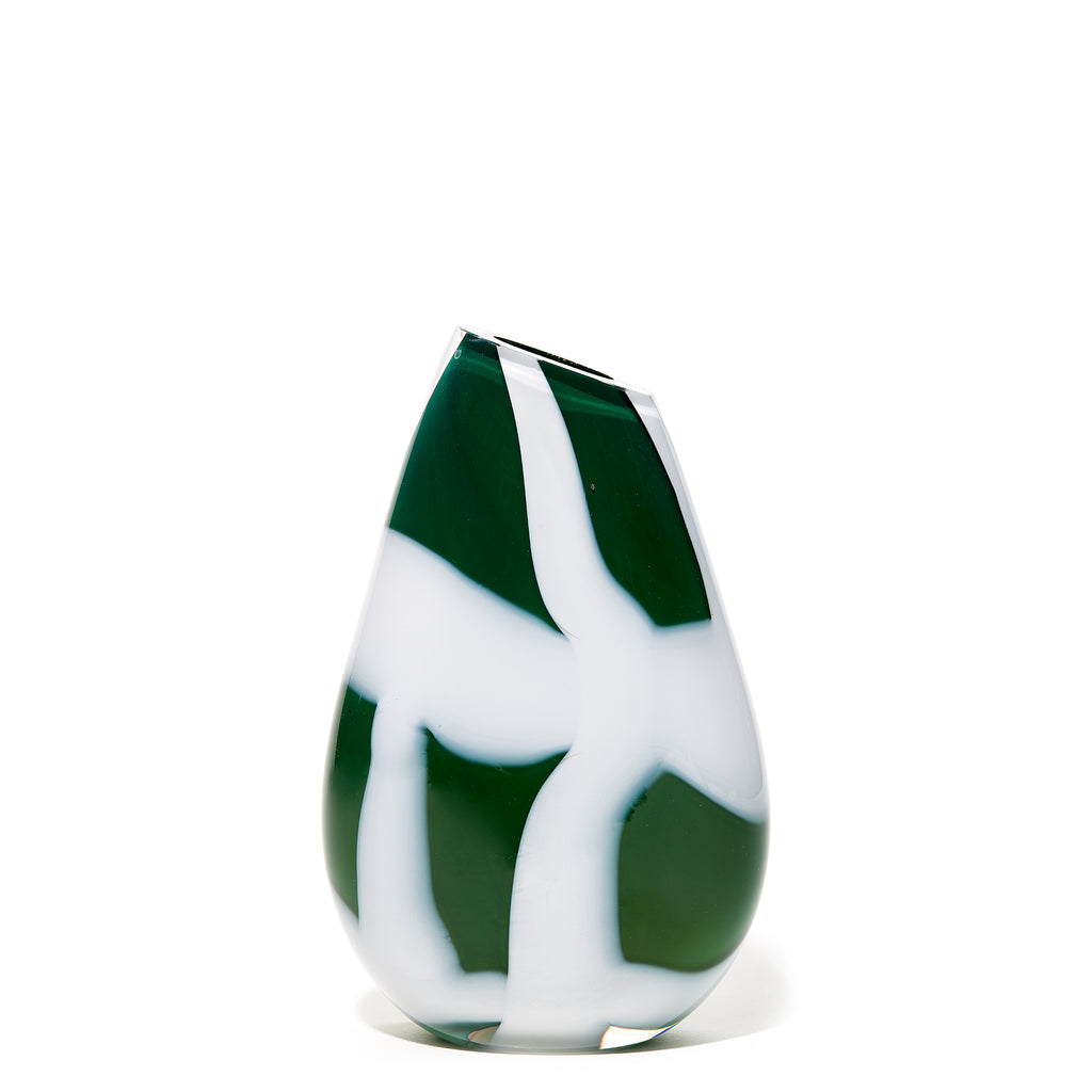 Green/White Checkered Stripe Vase
