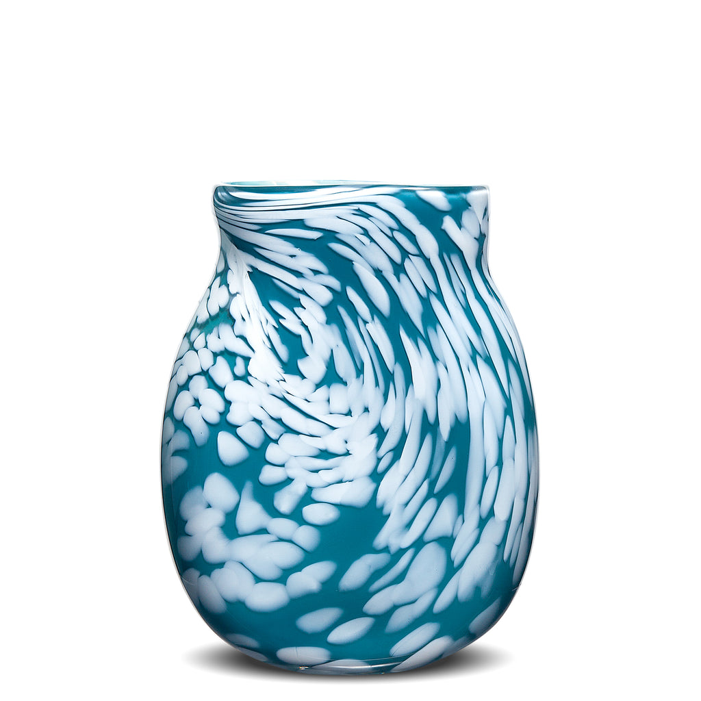 Teal/White Spotted Flat Vase
