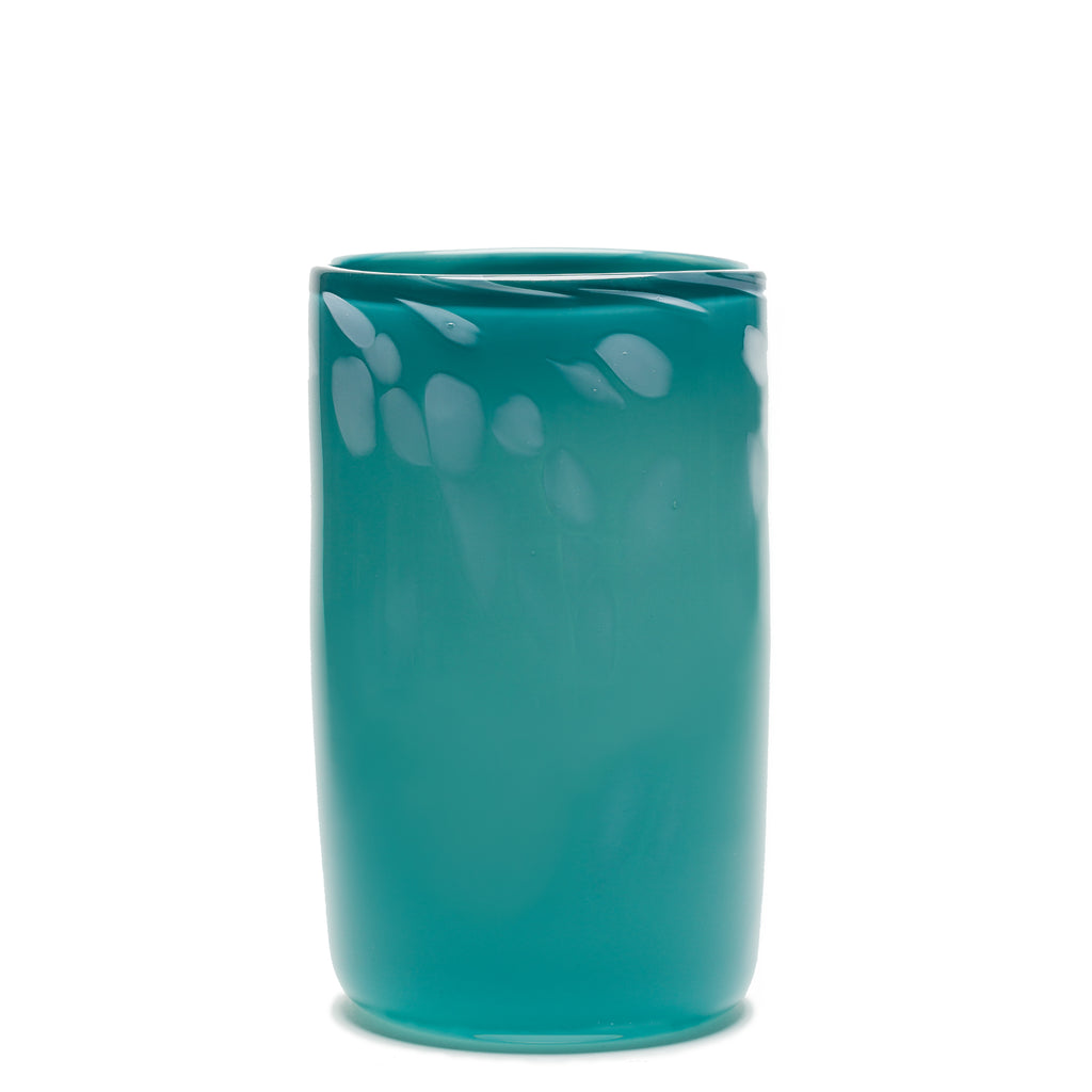 Dark Teal/White Spotted Cylinder Vase