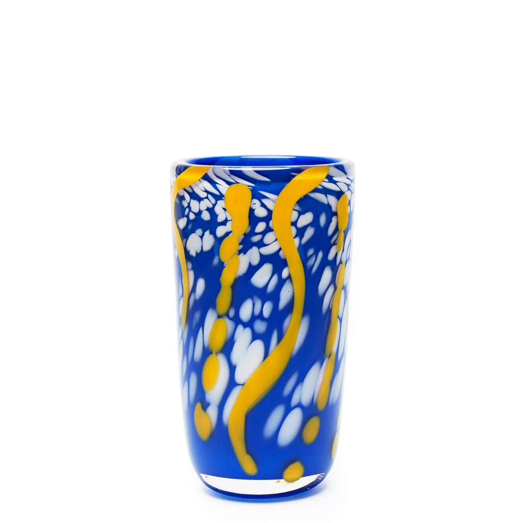 Blue/Yellow/White Swirl Spotted Vase