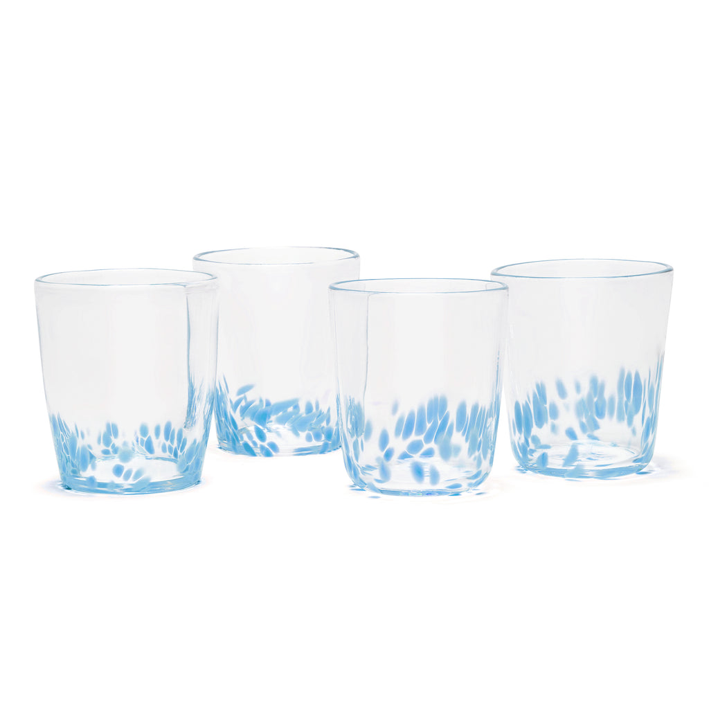 Sky Blue/Transparent Spotted Set of Four Tumblers