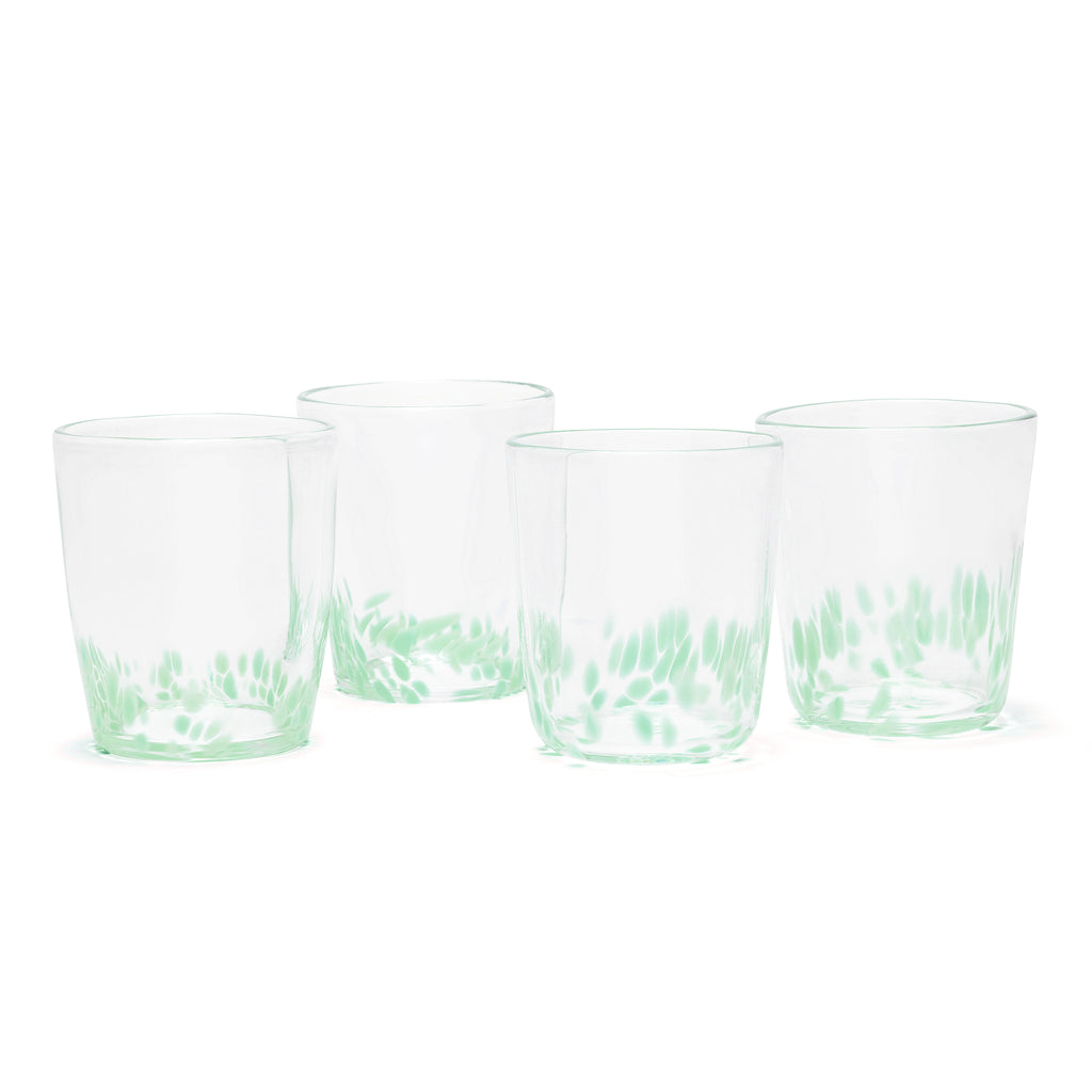 Seafoam Green/Transparent Spotted Set of Four Tumblers