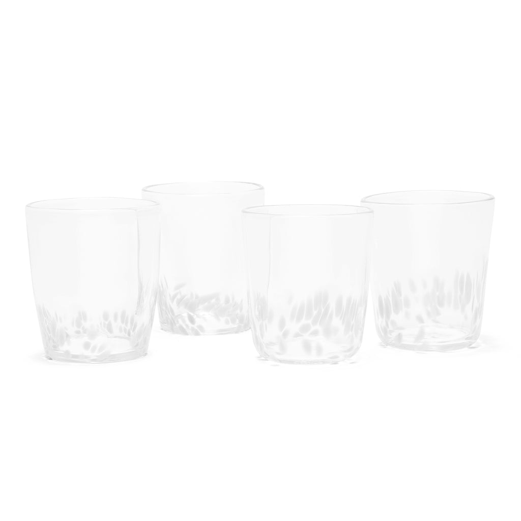 White/Transparent Spotted Set of Four Tumblers