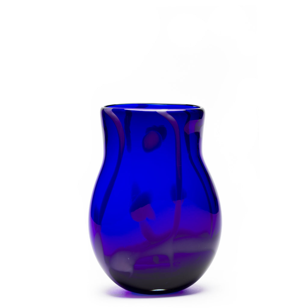 Royal Blue Transparent/Purple Swirl Vase