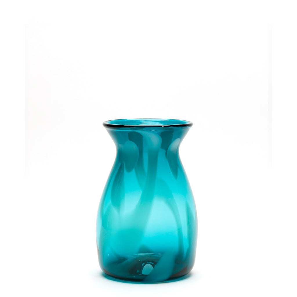 Transparent Teal/White Strokes Vase