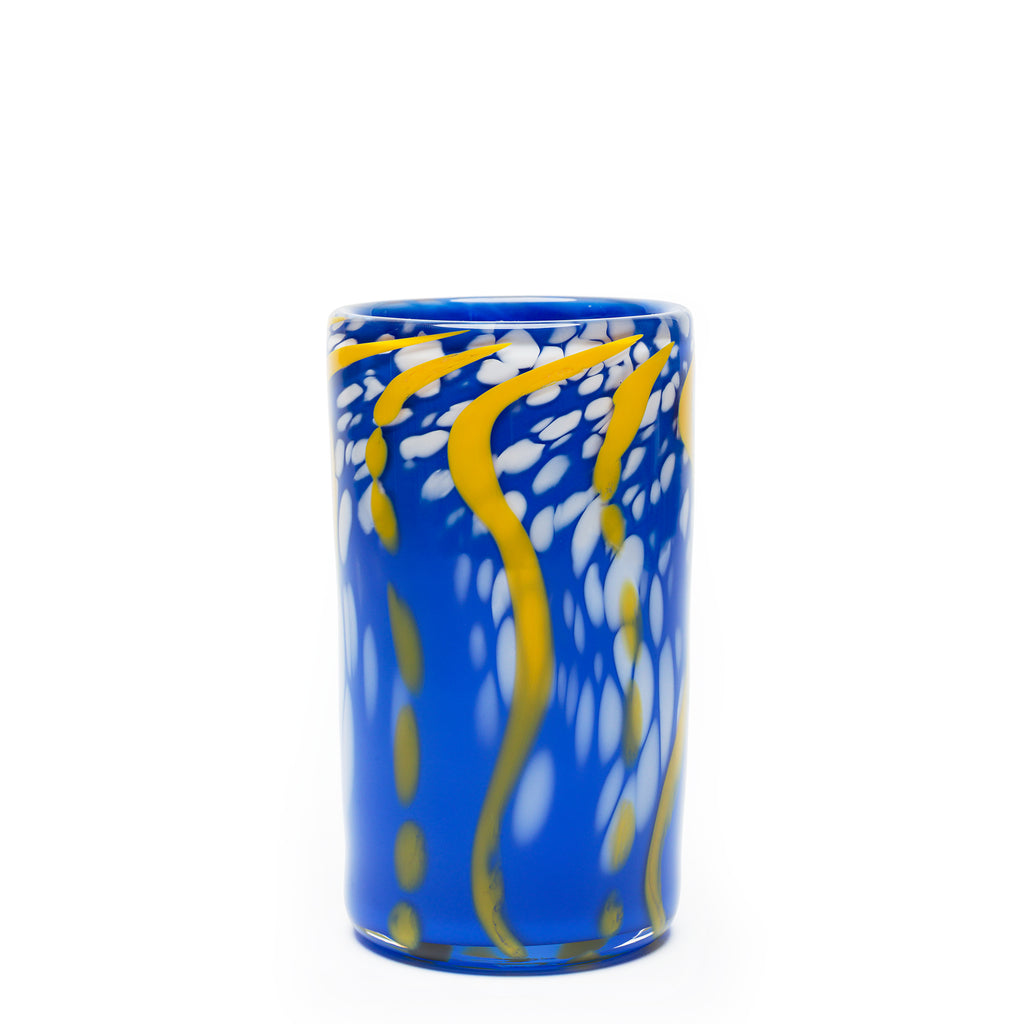 Blue/Yellow/White Swirl Spotted Cylinder Vase