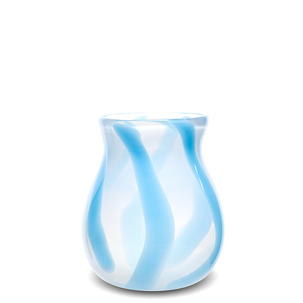 Cloudy White/Light Blue Stripe Vase